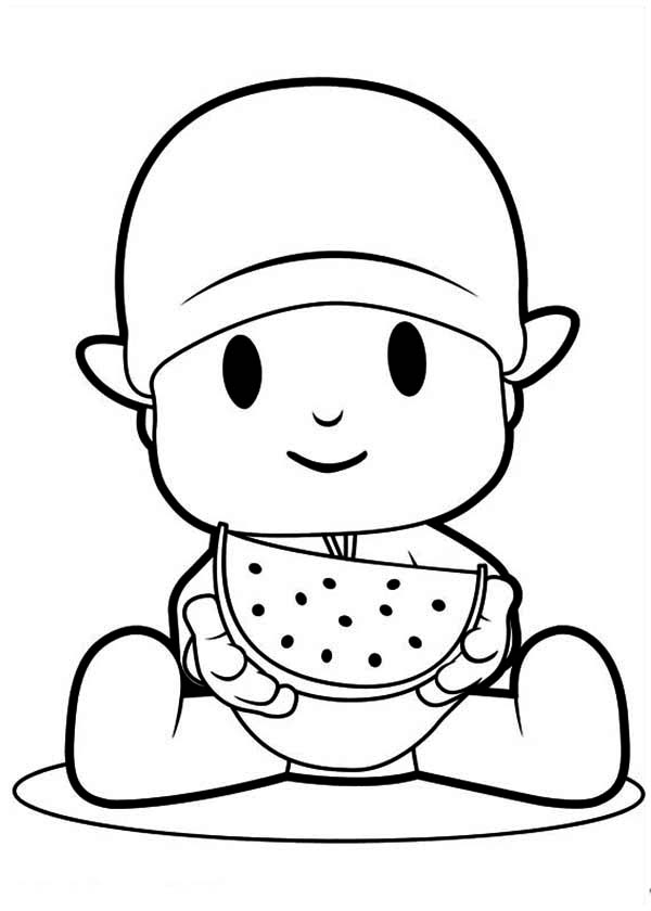 Eating Watermelon Coloring Pages