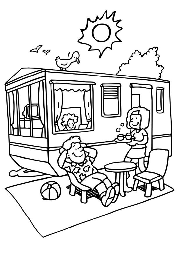 Family Campground Coloring Page
