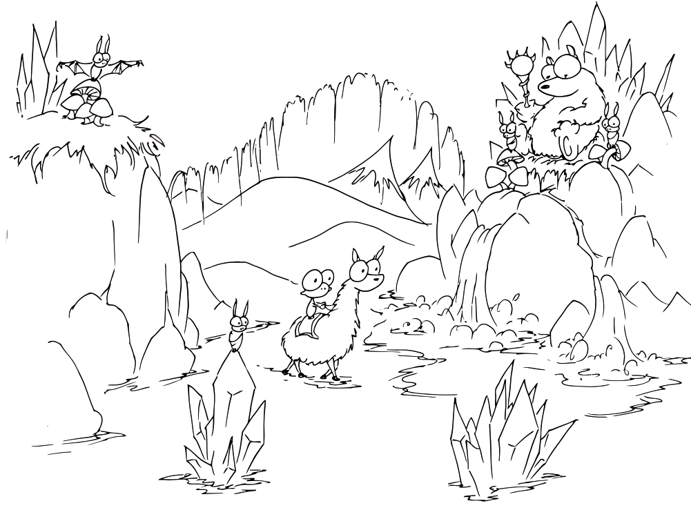 Mountain Animals Coloring Page