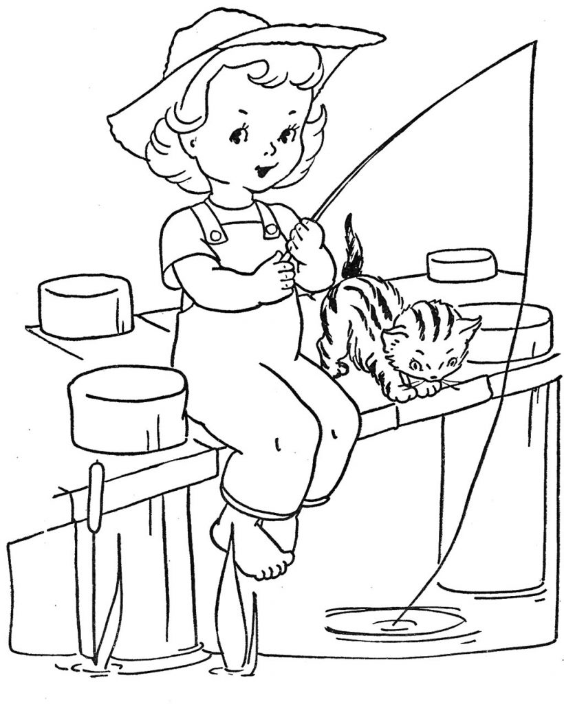 Pier Fishing Coloring Pages