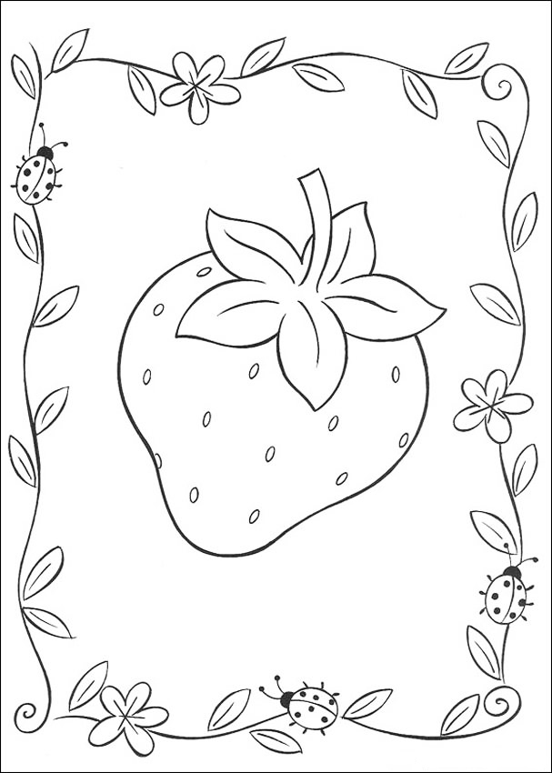 Pretty Strawberry Coloring Pages