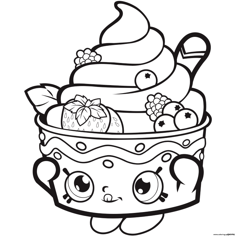 Strawberry Sundae Shoppie Coloring Page