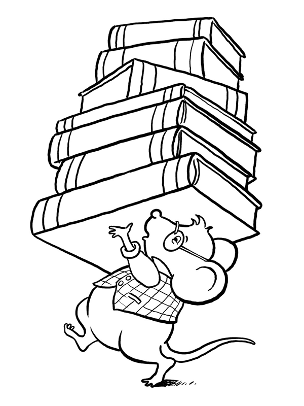 Carrying Books Coloring Page