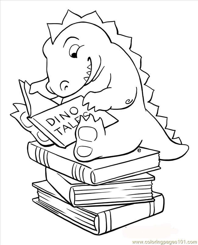 Dino Reader Coloring Page