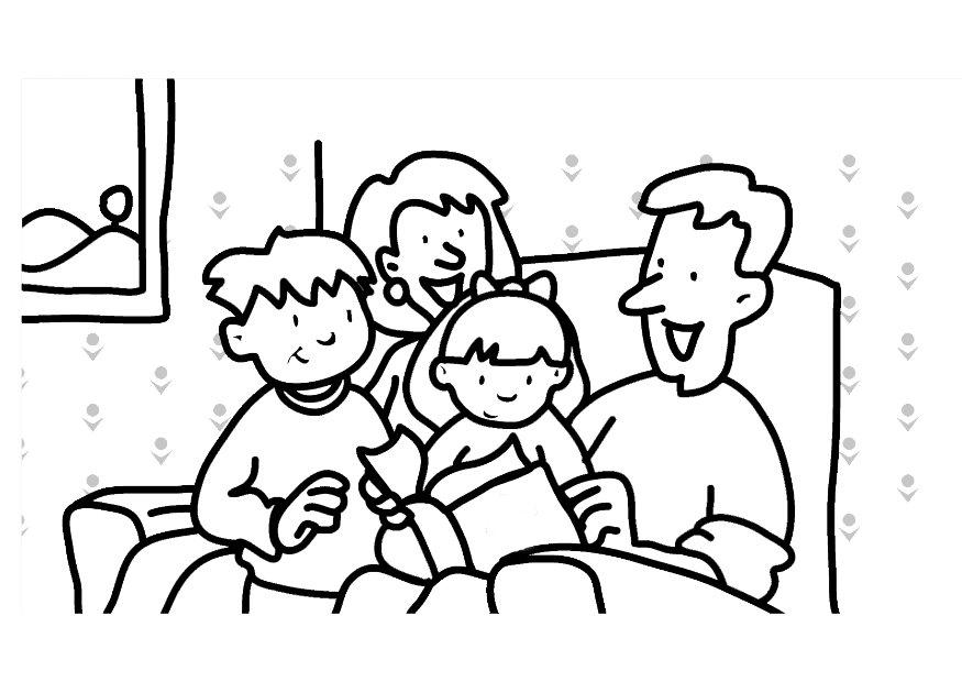 Family Reading Books Coloring Page