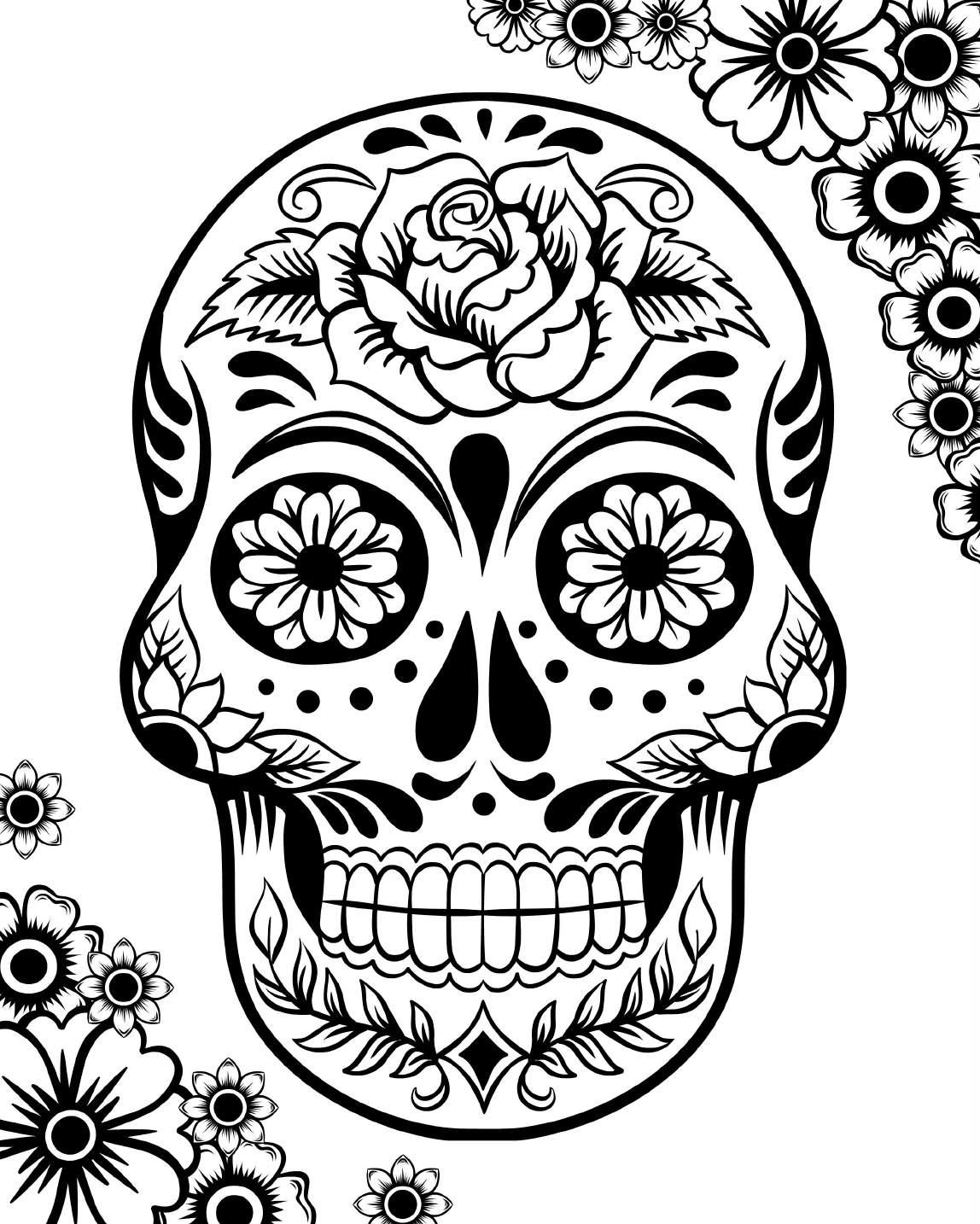Dog Sugar Skull Coloring Page