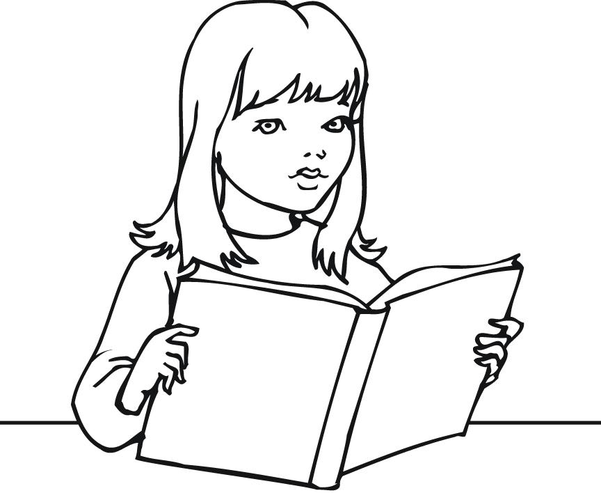 Girl Reading Book Coloring Page