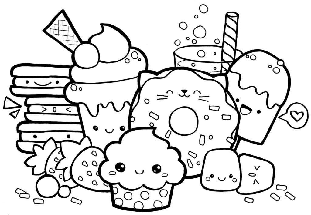 Kawaii Doodle Coloring Page