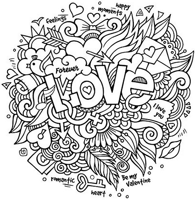 Love Doodle Coloring Pages For Adults