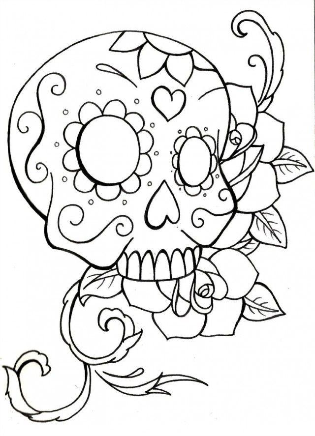 Print Sugar Skull Coloring Pages