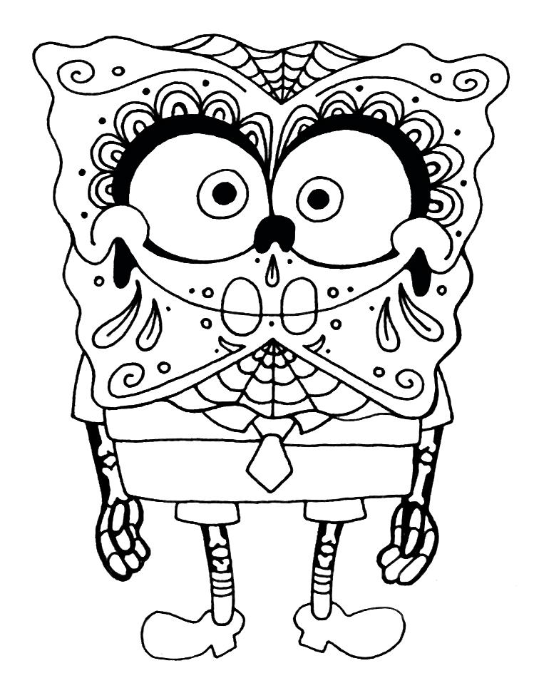 Sponge Bob Sugar Skull Coloring Pages