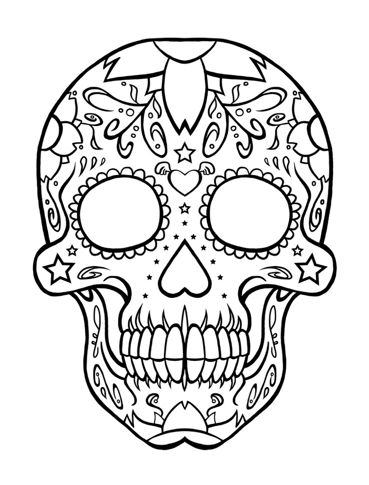 Sugar Skull Coloring Pages for Teens