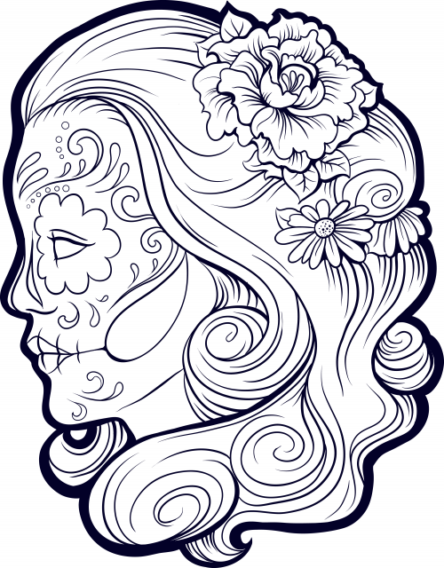 Sugar Skull Girl Coloring Page for Adults