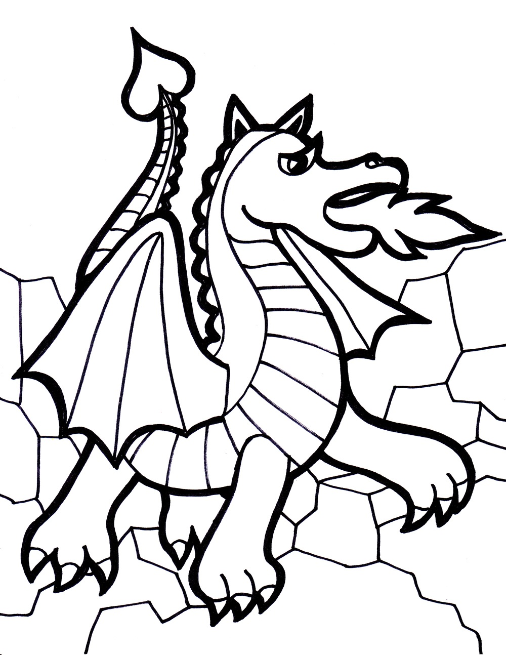 Free printable dragon coloring pages for kids for Free online drawing