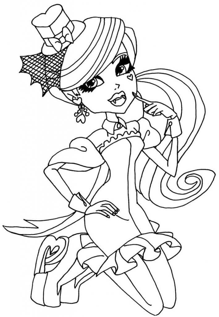 Monster High Coloring Pages For Kids Pictures