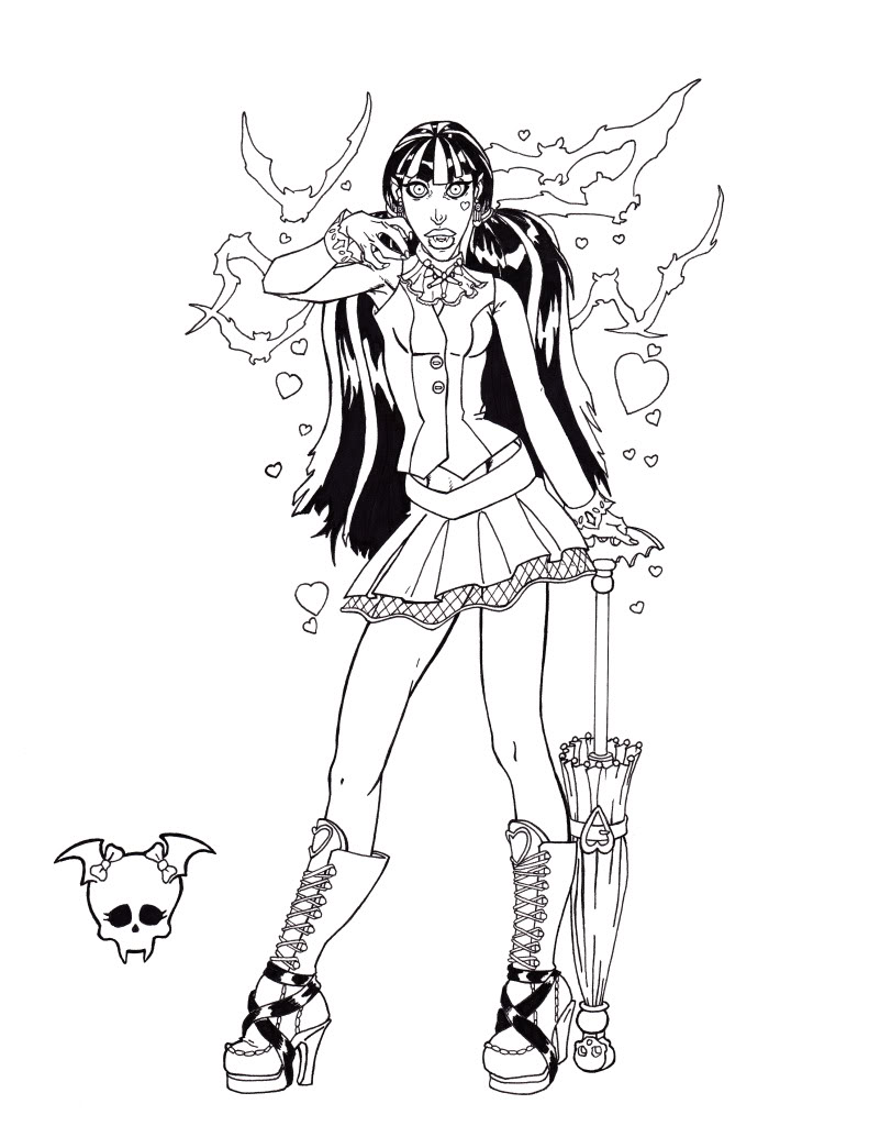 Ghoulia Yelps Monster High Coloring Page | Coloring pages ... | 1024x791