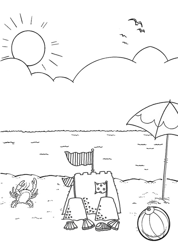 Beach Coloring Page Pictures