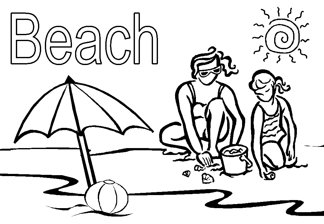 Dynamic image in beach printable coloring pages