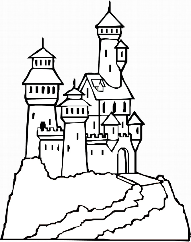 Coloring Page Castle Princess