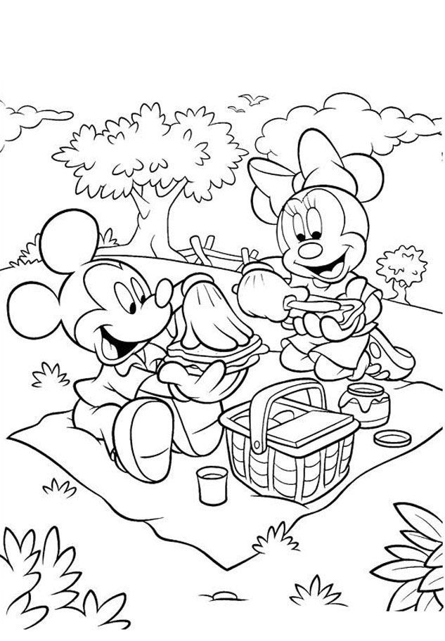 Coloring Pages of Minnie Mouse and Mickey Mouse