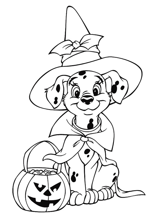 Dalmation In Halloween Costume Coloring Page