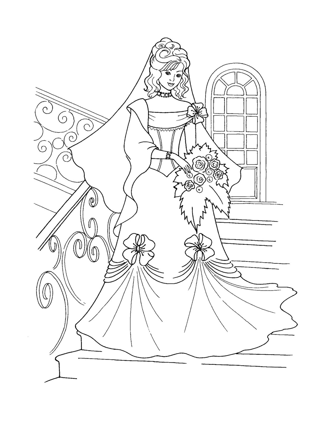 Free printable disney princess coloring pages for kids for Coloring pages wedding
