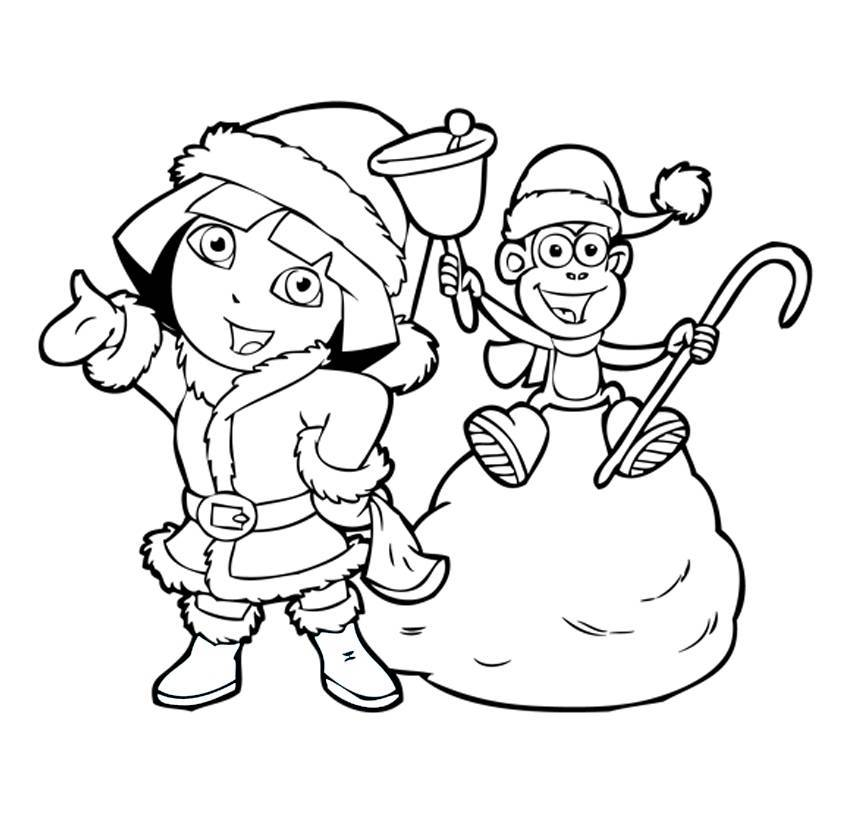Dora The Explorer Christmas Coloring Pages