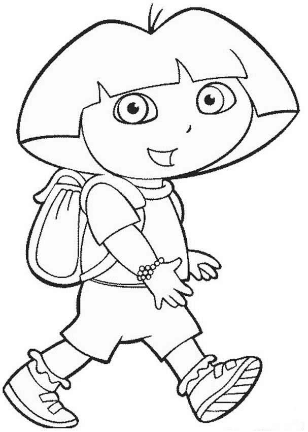 Free printable dora the explorer coloring pages for kids for Dora black and white coloring pages