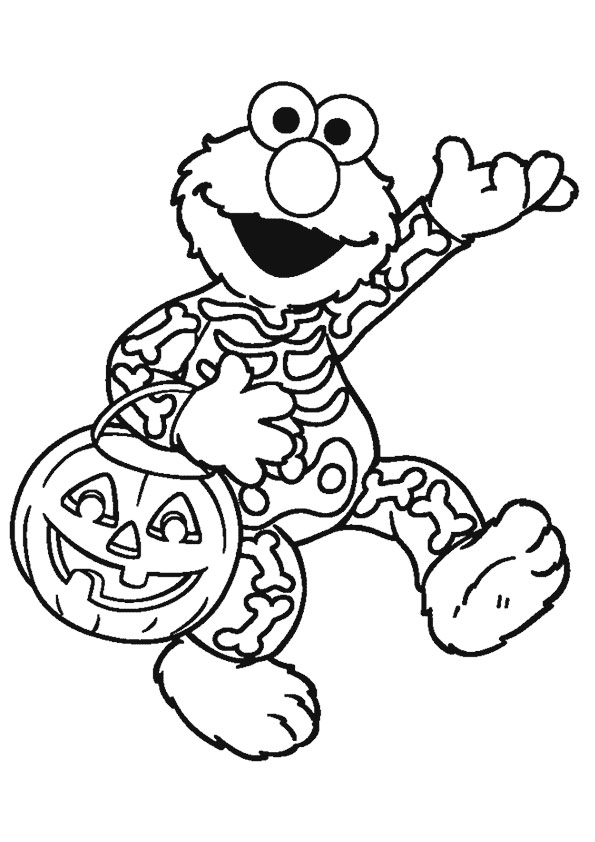 Elmo Dressed For Halloween Coloring Page