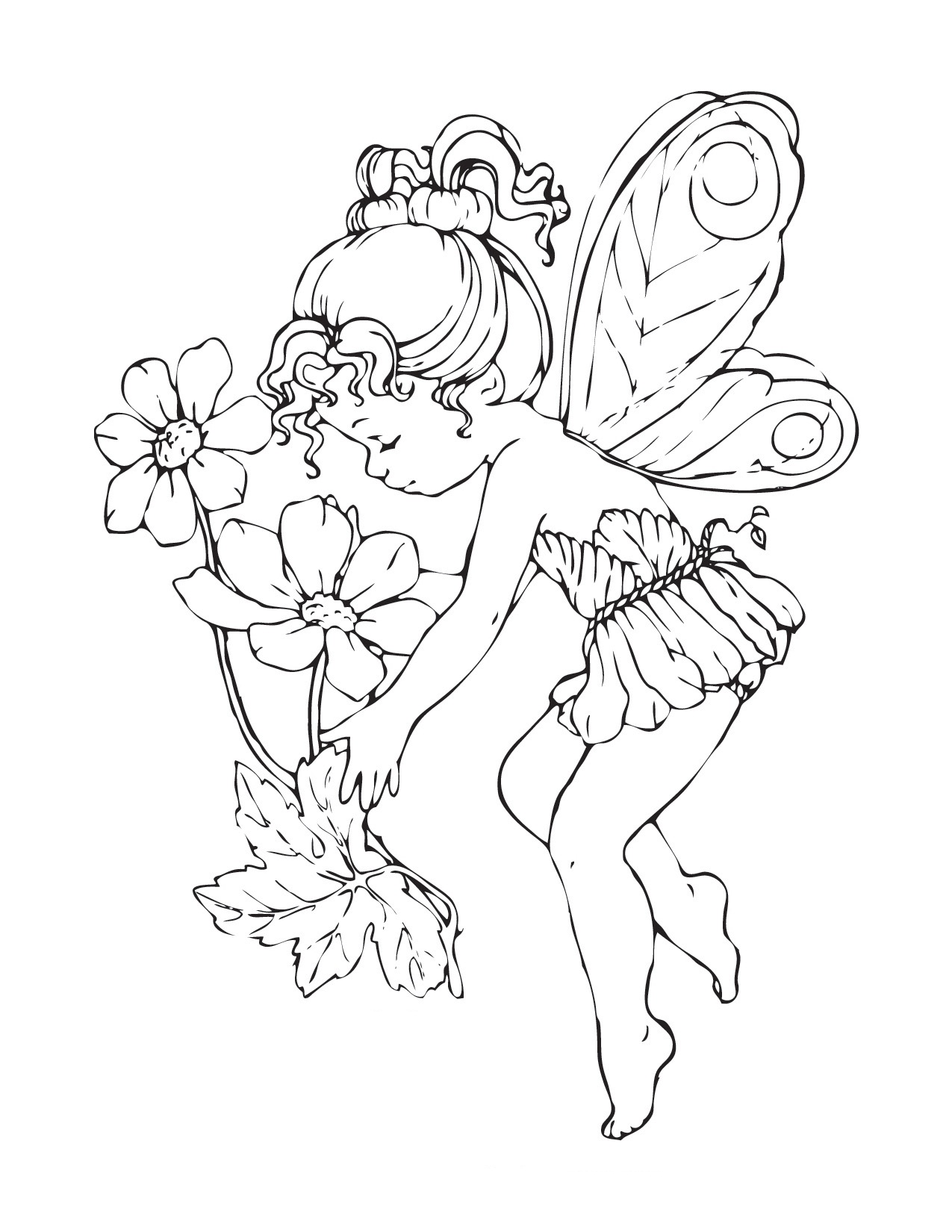 Free printable fairy coloring pages for kids for Christmas fairy coloring pages