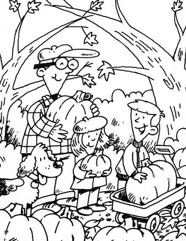 Family Picking Pumpkins Coloring Page