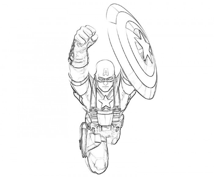 Flying Captain America Coloring Pages