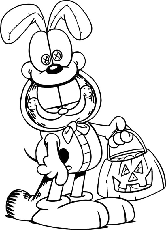Garfield In Odie Costume Coloring Page