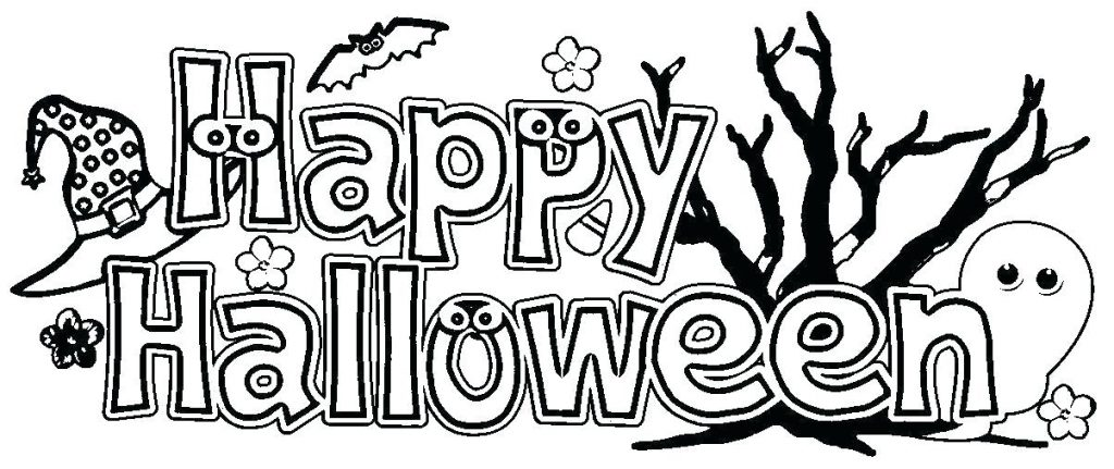 Happy Halloween Banner Coloring Page