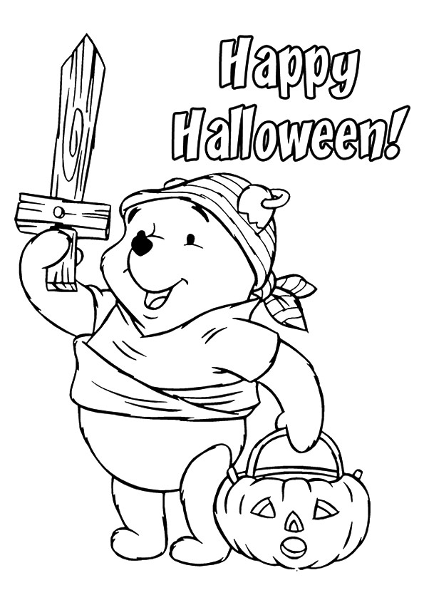 Happy Halloween Pooh Bear Coloring Page