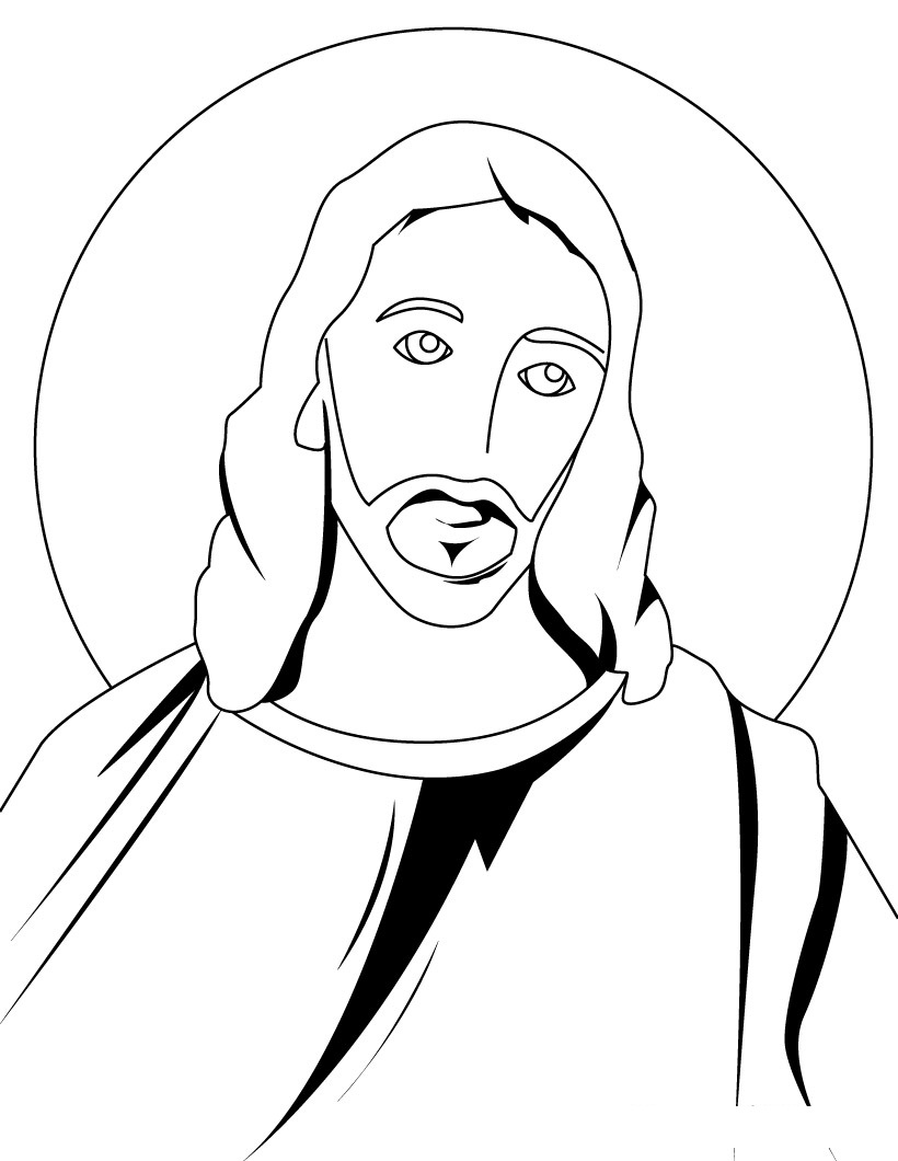 Line Drawing Of Jesus Face : Free printable jesus coloring pages for kids