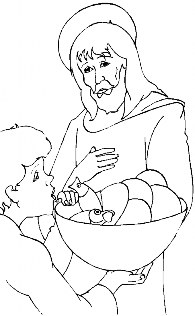 Jesus Feeds the Hungry Coloring Pages