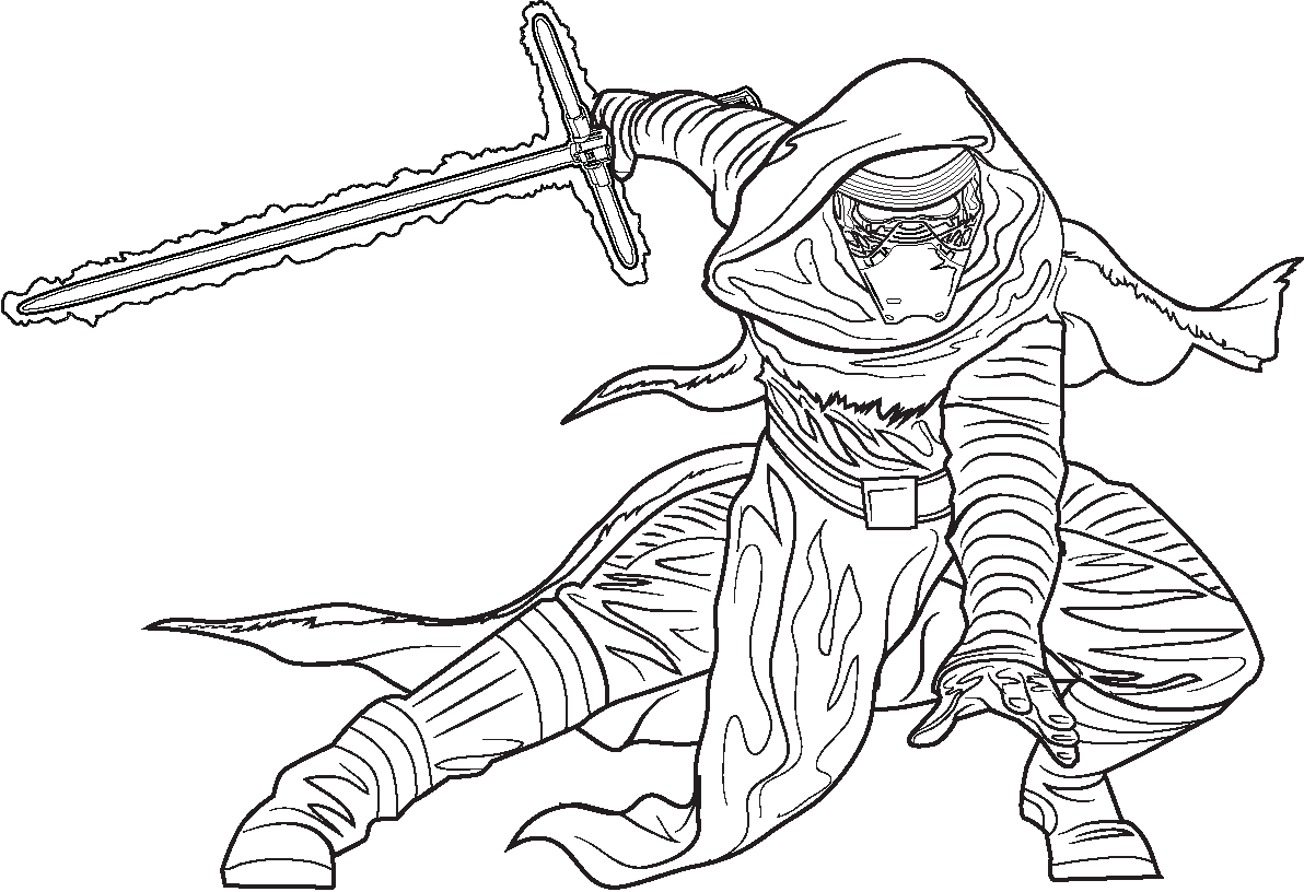 Star wars coloring pages free printable star wars for Kylo ren coloring page