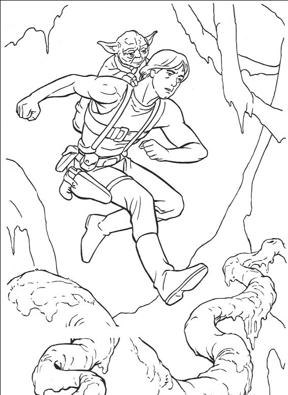 Luke and Yoda - Star Wars Coloring Pages