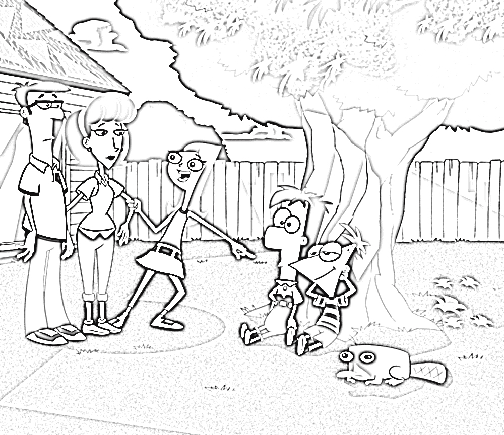 Phineas and Ferb Color Pages