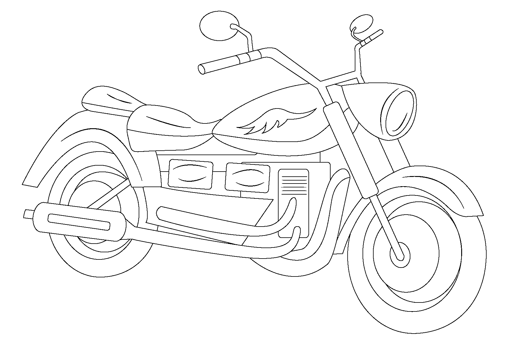 It's just an image of Slobbery motocycle coloring page