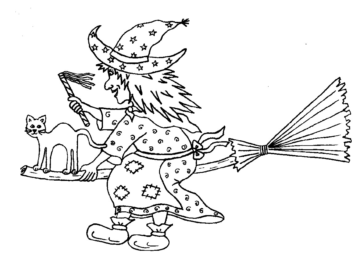 Christmas Witch Coloring Page