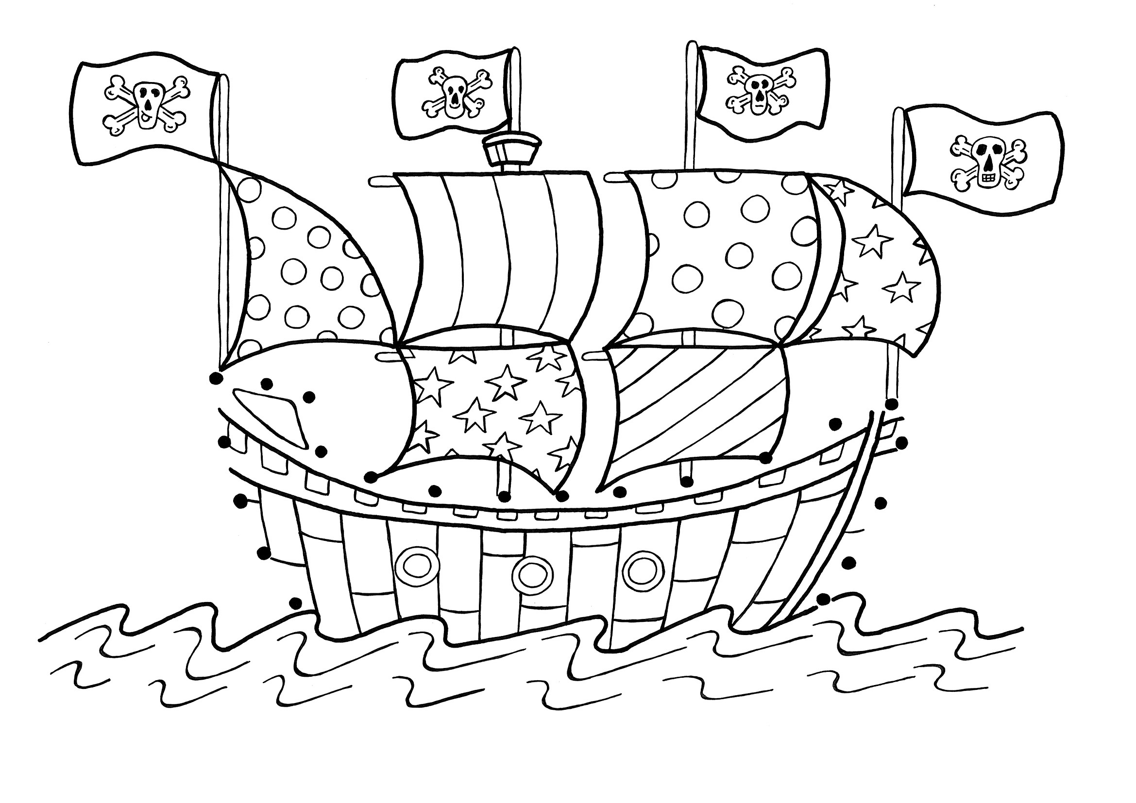 Free printable pirate coloring pages for kids for Battleship coloring pages