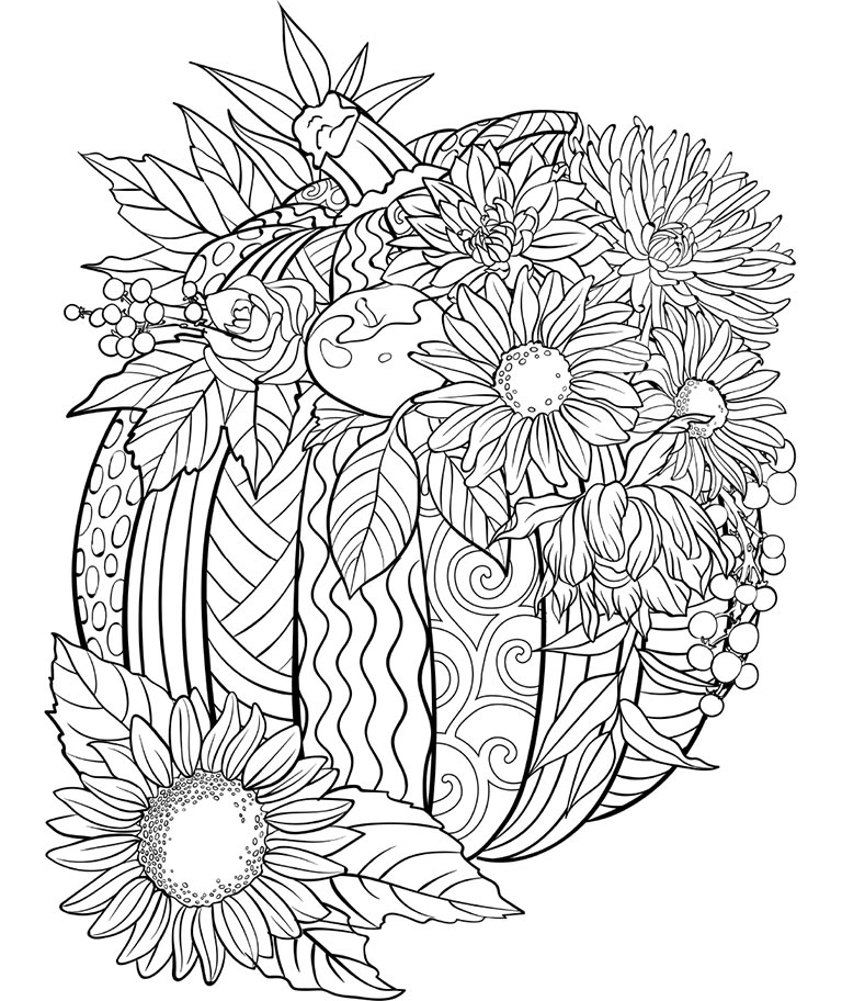 Pretty Fall Pumpkin And Sunflowers Coloring Page