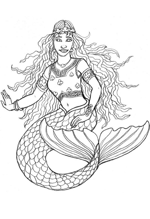 Pretty Mermaid Coloring Pages