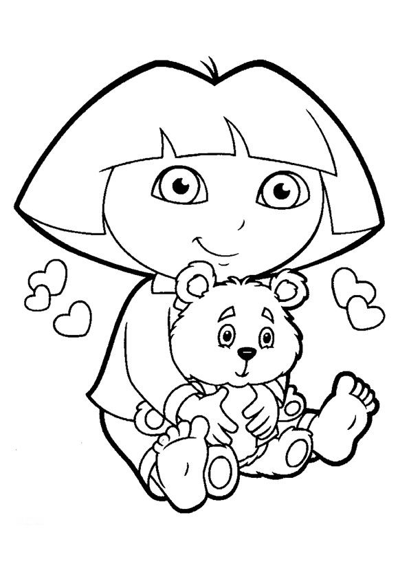 Dora And Boots In Christmas Coloring Pages | Dora coloring ... | 842x595
