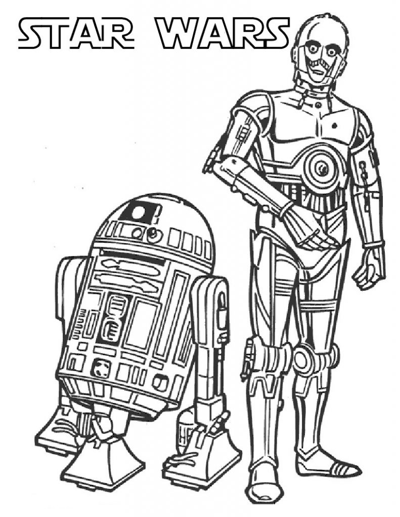 R2D2 and C3PO - Star Wars Coloring Pages