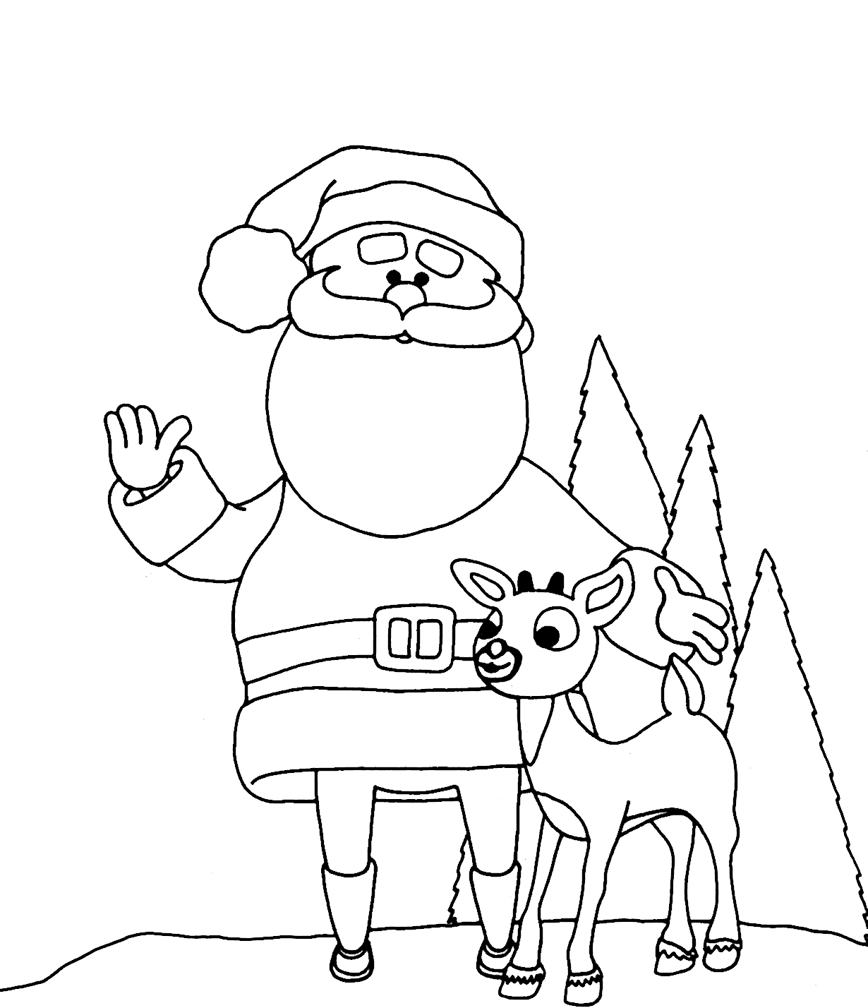 santa and reindeer coloring page for kids