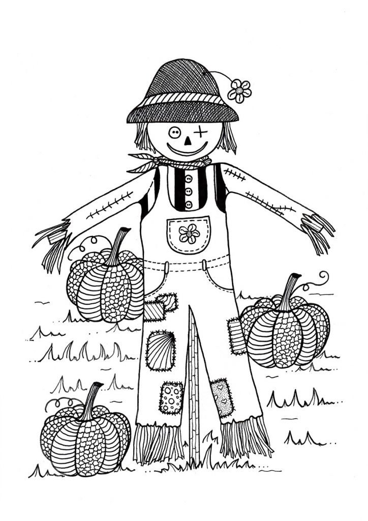 Scarecrow And Pumpkin Coloring Page