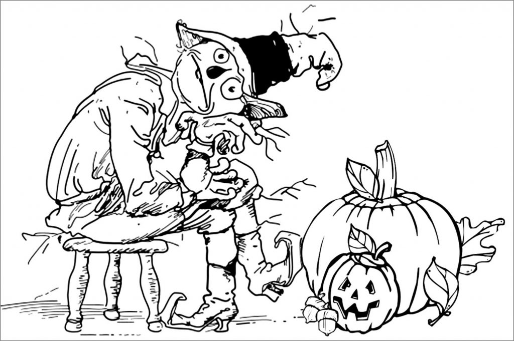 Scarecrow And Pumpkins Coloring Pages
